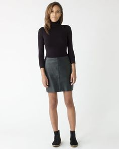 Soft leather mini skirt with edge-stitched seams and raw hem. Team with the Retro Stripe Jersey Amelie top and chunky boots for stylish beatnik glamour. Leather Mini Skirts, Leather Skirt, Chunky Boots, Striped Jersey, Frocks, Night Out, Autumn Fashion, Glamour, Silk