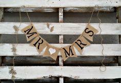 Mr. and Mrs. Burlap Banner Rustic Wedding by LittleZebrasBoutique, $21.50