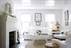 I think I like these all white rooms Vintage-All-White-Living-Room-sofa-furniture-at-contemporary-beach-cottage Cottage Living Rooms, Living Room White, White Rooms, Living Room Sofa, White Walls, Living Room Furniture, Living Room Decor, Living Spaces, Decor Room