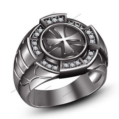 Men's Biker Cross Ring In 14k Black Gold Plated 925 Silver White Sim Diamond #br925 #CrossRing