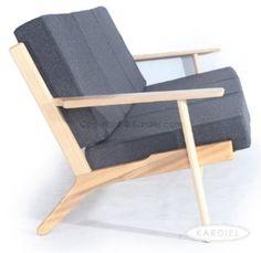 Amazon.com - Kardiel Hans J Wegner Style Plank Sofa, Charcoal Cashmere/Natural Wood - True Modern