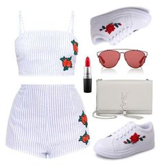 """""""Rose Outfit"""" by xhesikakuca ❤ liked on Polyvore featuring Christian Dior, Yves Saint Laurent and MAC Cosmetics"""