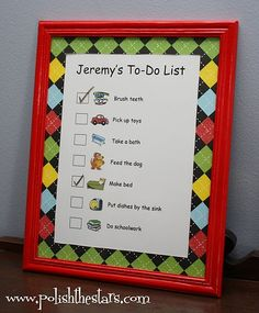 Chore list.. I like that there are pictures, too.. Put it in a frame with a dry erase marker and it might work :)