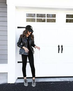 Camila Coelho Style  leatherjacket  allblack  black Casual Sneakers Outfit cc0dcff0532