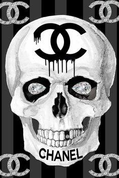 Skull Artwork, Skull Painting, Canvas Artwork, Canvas Art Prints, Chanel Wall Art, Chanel Decor, Chanel Art, Chanel Canvas, Chanel Wallpapers