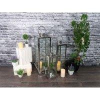 Srebrna latarnia ogrodowa ze stali nierdzewnej