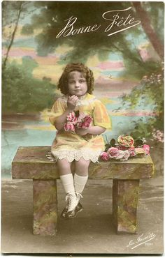 French girl sitting on a stone bench  Vintage by BelleEpoqueCards, $3.75