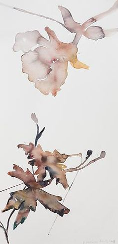 Kim McCarty, Untitled (purple leaves) (2008) Watercolor On Paper 27h x 13w in (68.58h x 33.02w cm)