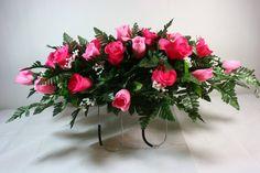 Valentine's Day Pink Vien Roses Cemetery Flower Arrangement, $35.99