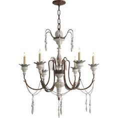 Visual Comfort SK5000NR-OW Suzanne Kasler 6 Light Small Percival Chandelier in…