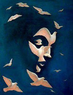 """Dove and Peace"" - Optical Illusion art by Octavio Ocampo Optical Illusion Paintings, Art Optical, Optical Illusions Drawings, Face Illusions, Illusions Mind, Illusion Kunst, Wow Art, Surreal Art, Art Plastique"