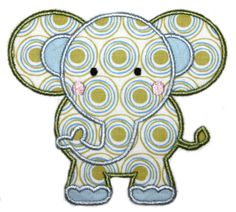 Baby Applique Patterns | Elephant with Shirt Applique Design