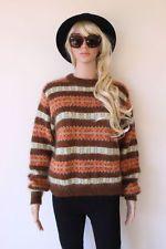 VINTAGE style Jumper Sweater MOHAIR soft WARM stripe AZTEC indie brown S retro