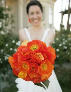 orange flowers poppies wedding flower bouquet, bridal bouquet, wedding flowers, add pic source on comment and we will update it. www.myfloweraffair.com can create this beautiful wedding flower look.