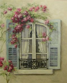 Christie Repasy Presents French Window On Canvas-Christie, Repasy, art, roses, catherine klein, DeLongpre, shabby, romance, chic, cottage, romantic, pink, garlands,