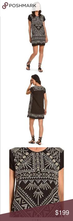 Johnny Was Collete Peasant Tunic 100% Linen with 100% polyester Trims.  It's called a Tunic but definitely a dress as well. Johnny Was Tops Tunics
