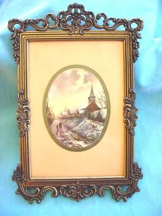 Beautiful Vintage Brass Hanging Picture Frame Ornate Lovely Design Made in Italy  