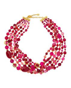 6-Strand Twisted Agate Necklace, Hot Pink by Jose & Maria Barrera at Neiman Marcus.