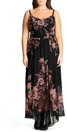 dc4a47a07d6 Plus Size Women s City Chic Antique Floral Chiffon High low Maxi Dress City  Chic Dresses