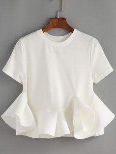 Blusa cuello redondo volantes crop -blanco