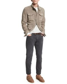Suede Safari Jacket, Striped Long-Sleeve Cashmere Tee, Crewneck Short-Sleeve Tee & Five-Pocket Cotton Denim Pants by Brunello Cucinelli at Bergdorf Goodman.
