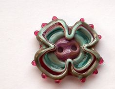 art glass, pinched flower