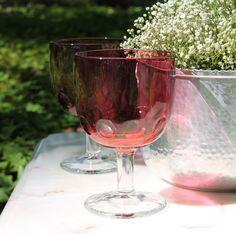 Vintage cranberry thumbprint goblets mix and match glassware