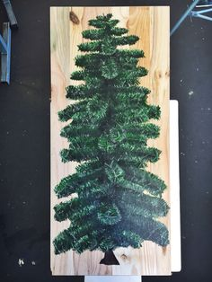 Pine tree - nature - acrylic on wood - painting