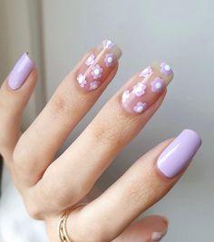 Nagellack Design, Nagellack Trends, Best Acrylic Nails, Acrylic Nail Designs, Summer Acrylic Nails, Stylish Nails, Trendy Nails, Lavender Nails, Lilac Nails
