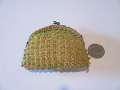 Coin Purse, Vintage, Frame Top Crochet and Beads, Yellow Mustard, Green Beads, Handmade, Secret Stash, Mad Money by HobbitHouse on Etsy