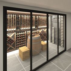 My husband lacks any amount of self control, so we probably couldn't have this. My husband lacks any amount of self control, so we probably couldn't have this in our house, but it's beautiful! Glass Wine Cellar, Home Wine Cellars, Wine Cellar Design, Wine Cellar Modern, Wine Cellar Racks, Cave A Vin Design, Wine Cellar Basement, Wine House, Wine Wall