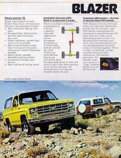 Chevy Blazer K5, K5 Blazer, Chevrolet 4x4, Vintage Chevy Trucks, Car Brochure, Unique Cars, Performance Parts, Ads, Advertising