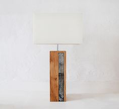 Reclaimed oak and slate lamp