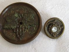 2 ANTIQUE Grape Leaf Cluster Shell Composition & Metal by abandc, $8.55