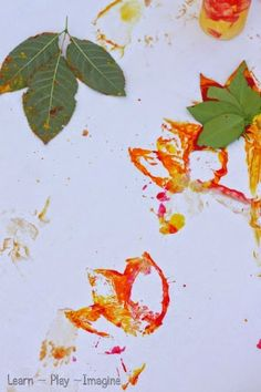 Fall print making - art with leaves