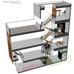 Thiết kế nhà ống nhỏ đẹp 33m2 02 House Design Photos, Cool House Designs, Modern House Design, Narrow House Plans, 3d House Plans, Architect Fees, Townhouse Apartments, 2 Storey House Design, Micro House