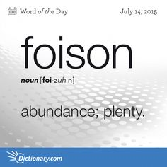 Today's Word of the Day is foison. Learn its definition, pronunciation, etymology and more. Join over 19 million fans who boost their vocabulary every day.