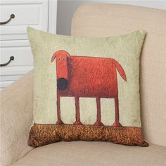 45*45cm Red Dog Pillow Cover Cotton&Linen Cushion Office Nap Throw Pillow Case UIE528