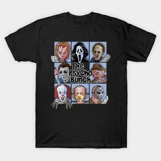 Horror Movie Mashup T-Shirt by Rubén García Alcaraz aka Skullpy. Show everyone that you are a fan of Horror Movie with this Brady Bunch parody t-shirt. Horror Movie T Shirts, Movie Shirts, Horror Movies, Tee Shirts, Sister Shirts, Nerd Outfits, Cool Outfits, Halloween Shirt, Funny Halloween
