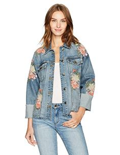 738d5e81dbd5  348 - Joe s Jeans Women s Belize Embroidered Cuffed Denim Jacket in Sasha  Ladies Coats
