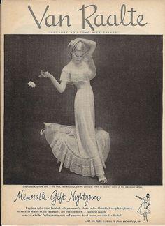1953 VAN RAALTE Vanity Fair Blond Women Sheer NIGHTGOWNS Vintage Lingerie Ad