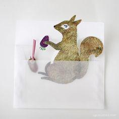 ai. Die-Cut Squirrel Greeting Card