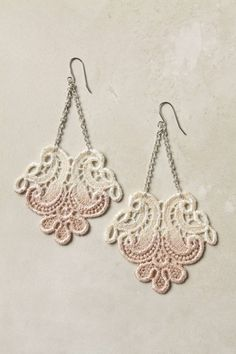 could easily DIY these Anthropologie earrings----Ooo I want these! Lace Jewelry, Textile Jewelry, Fabric Jewelry, Jewelry Crafts, Jewelery, Jewelry Accessories, Handmade Jewelry, Women's Earrings, Crochet Earrings