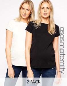 ASOS Maternity Crew Neck T-Shirt With Capped Sleeve 2 Pack SAVE 10%