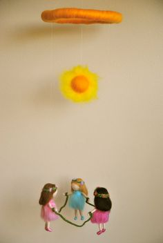 Waldorf inspired needle felted mobile Summer Dancing by MagicWool, $60.00