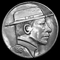 Cliff Kraft Hobo Nickel, Cliff, Buffalo, Classic Style, Carving, Contemporary, The Originals, Wood Carvings, Sculptures