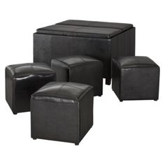 Sheridan Black Leather Quad Storage Ottoman w/ 2 Trays & 4 Side Ottomans (6-piece).  Good choice as coffee table in living room?