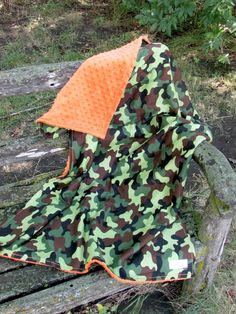 Boy Green Camo and Hunter Orange Minky Baby Blanket-- So fun for a hunting trip with Daddy!