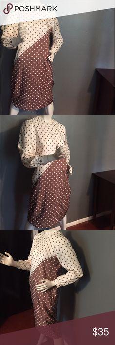 """Vintage Henry Lee polka dot dress. Vintage Henry Lee dress. 100% polyester. Size 8. Cream and brown polka dots. Length 43"""", bust 40"""", waist 40"""". Vintage Dresses"""