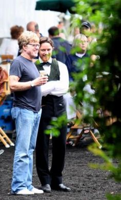 "Movies Made in Savannah | savannahnow.com  Director Robert Redford and actor James McAvoy during the first day of filming on the set of ""The Conspirator"" in Chatham Square on Monday morning. (Emily Goldman/Savannah Morning News) #savannahwedding Savannah Wedding"